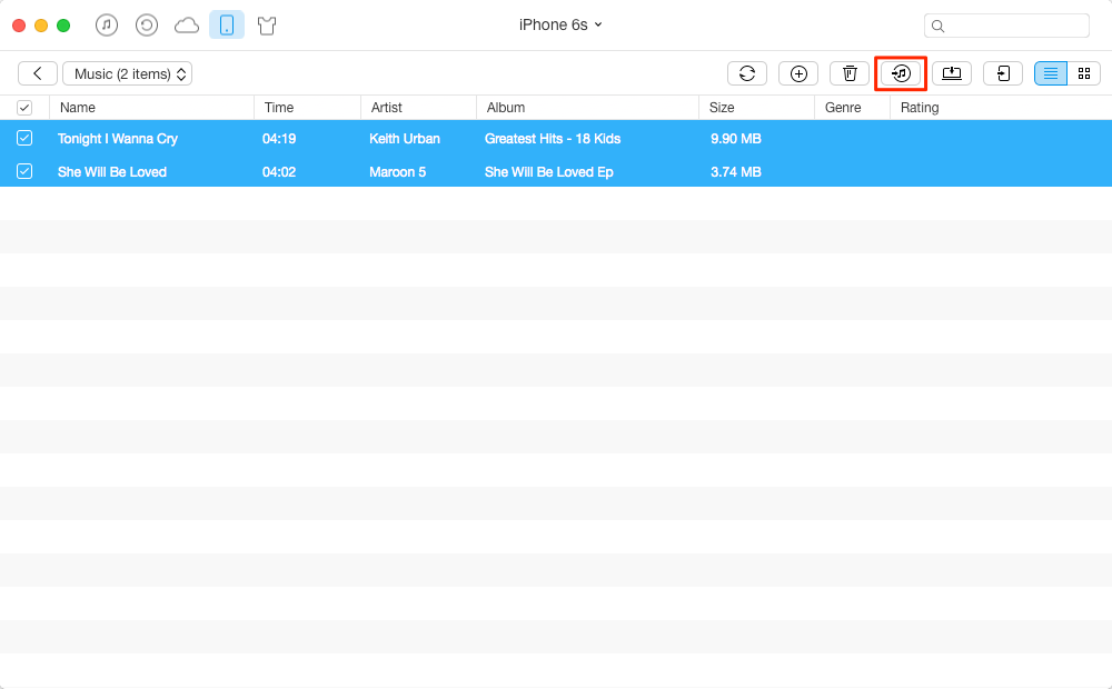 How to Put iPhone Music to iTunes Library on Mac - Step 3