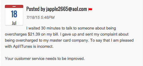 Apple User Complained about iTunes Customer Service