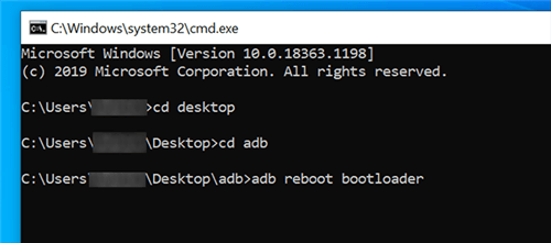 Reboot into the Bootloader Mode with ADB