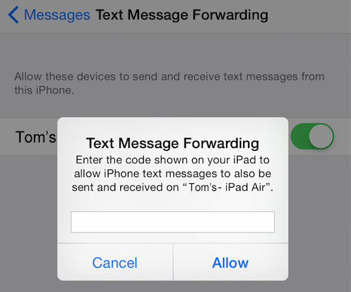 How to Receive Text Messages on iPad – Step 2