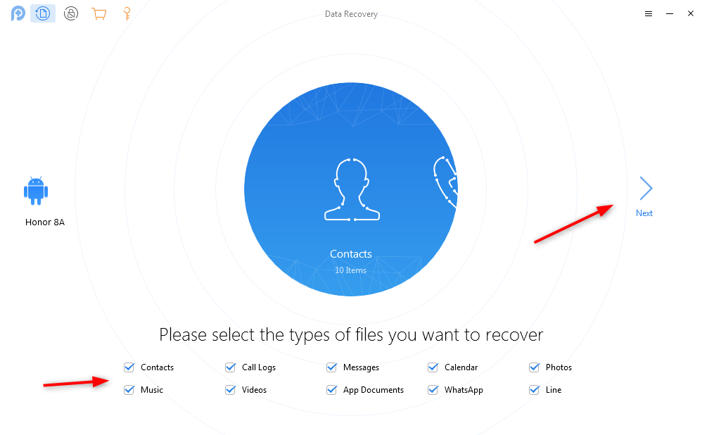 Choose the Data Type to Recover