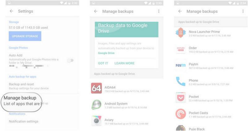 Manage Google Backup