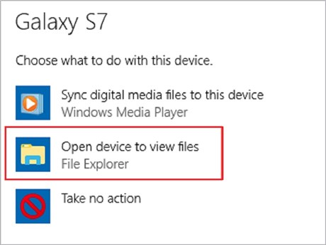 Open Device to View Files via a USB Cable