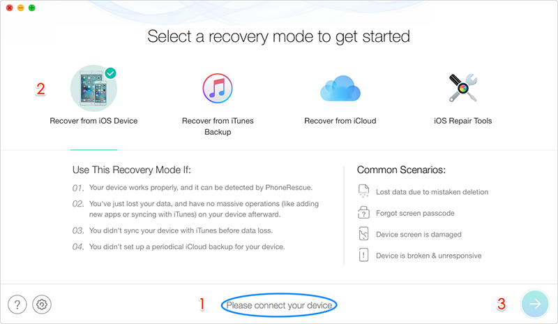 Recover Data from Dead iPhone - Step 1