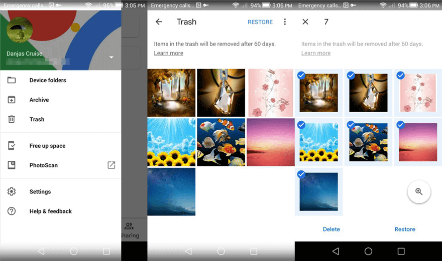 Select Files from Google Photos to Restore