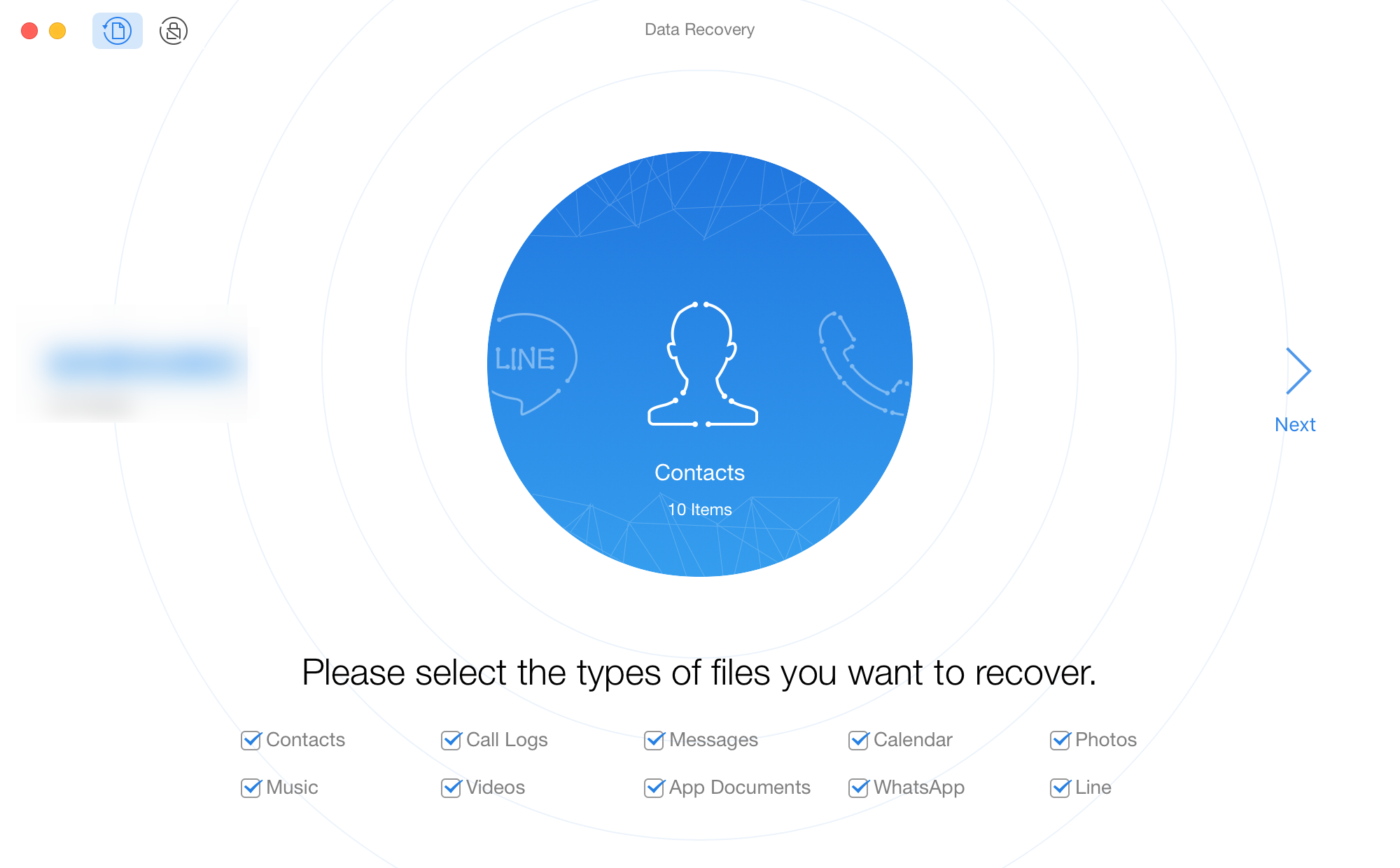 Select File Types to Recover on PhoneRescue for Android