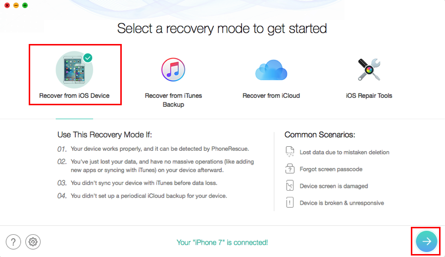 Recover Deleted Files from iPhone iPad – Step 1