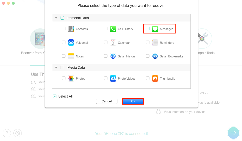 How to Recover Deleted iMessage without Backup - Step 2