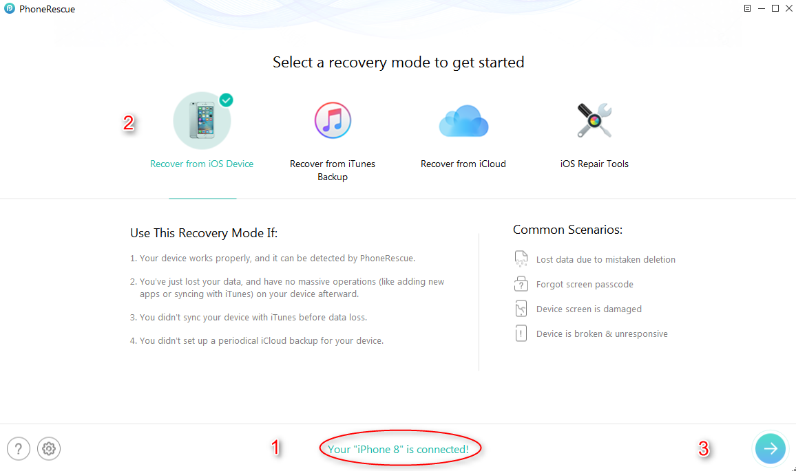 How to Recover Deleted Photos on iPhone without backup – Step 2