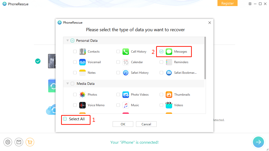 Recover Deleted Pictures from iPhone Text Messages Directly - Step 2