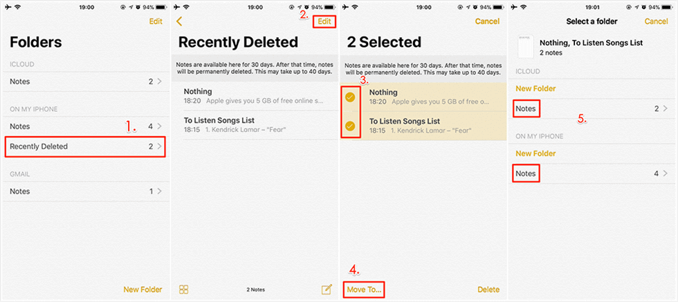 How to Recover Deleted Notes on iPhone via Recently Deleted