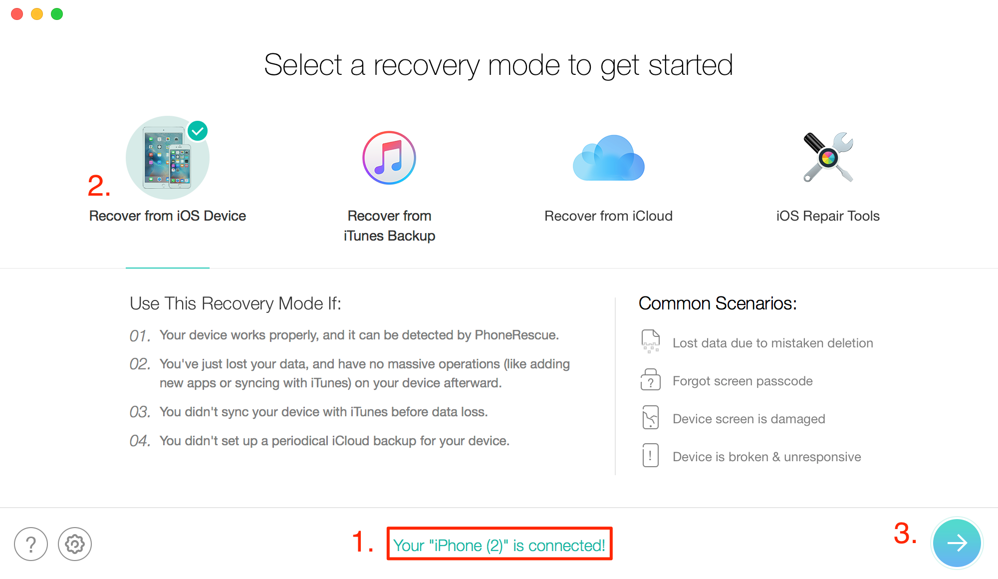 How to Recover Deleted Notes on iPhone X/8/7/6s/5 without Backup – Step 2