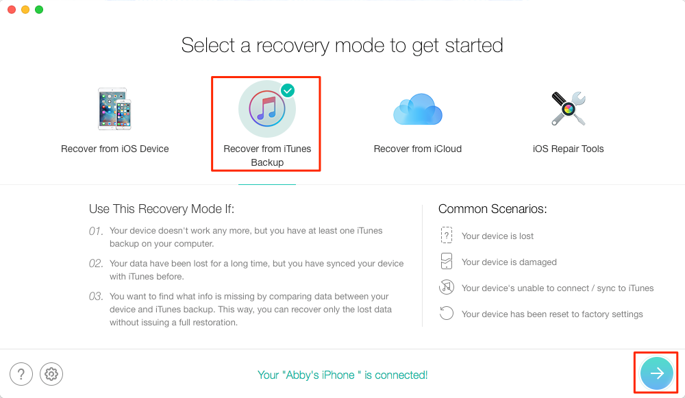 How to Recover Deleted Notes on iPhone 5/5s with Backup – Step 1