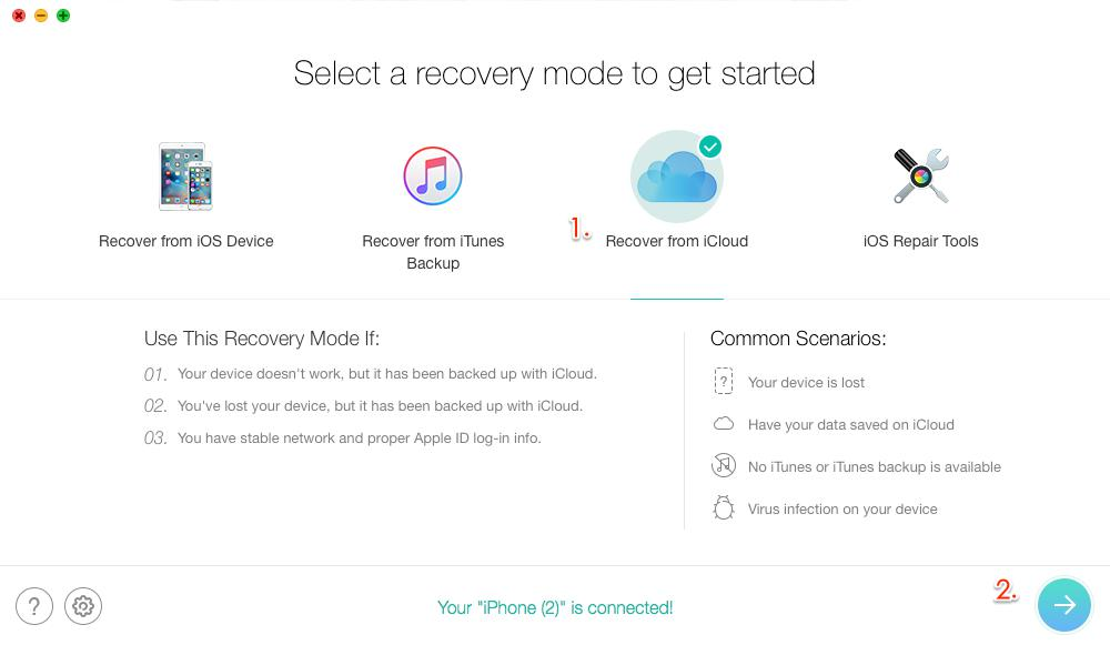 How to Recover Deleted Notes on iPhone X/8/7/6s/5 with iCloud Backup – Step 2