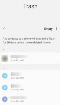 Android Contacts Trash Bin