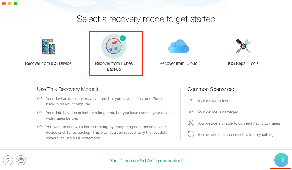 How to Recover Photos from iPad with iTunes Backup - Step 1