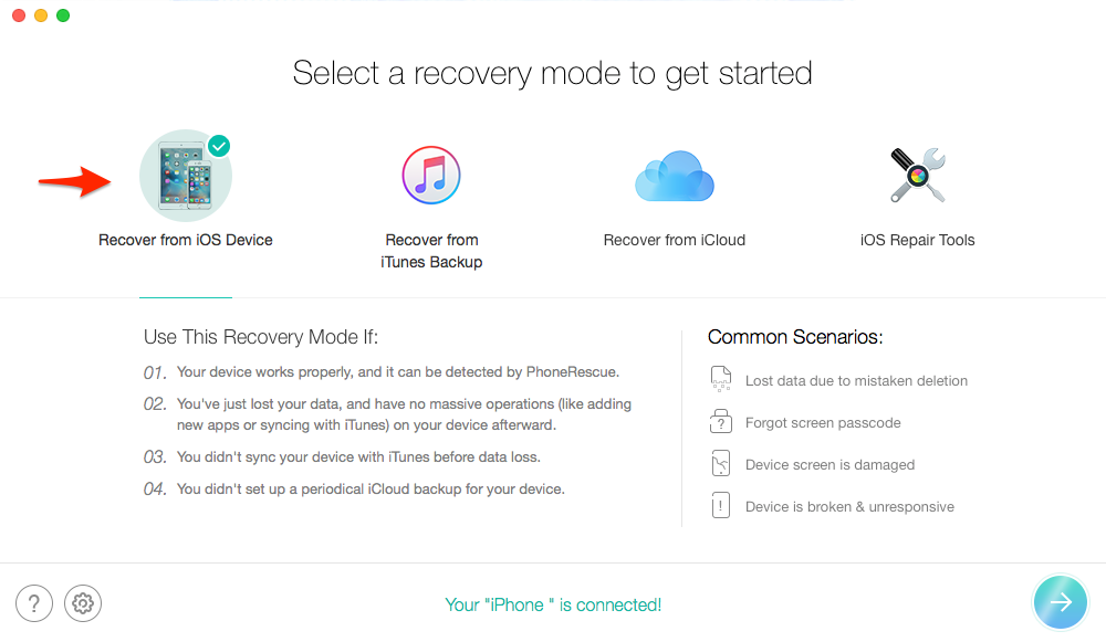 Recover Deleted Photos from iPhone 6/6s (Plus) – Step 2