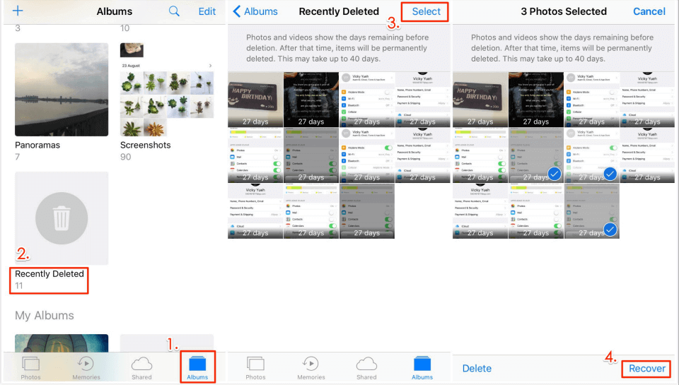 How to Recover Deleted Photos from iPhone 6/6s via Recently Deleted Album