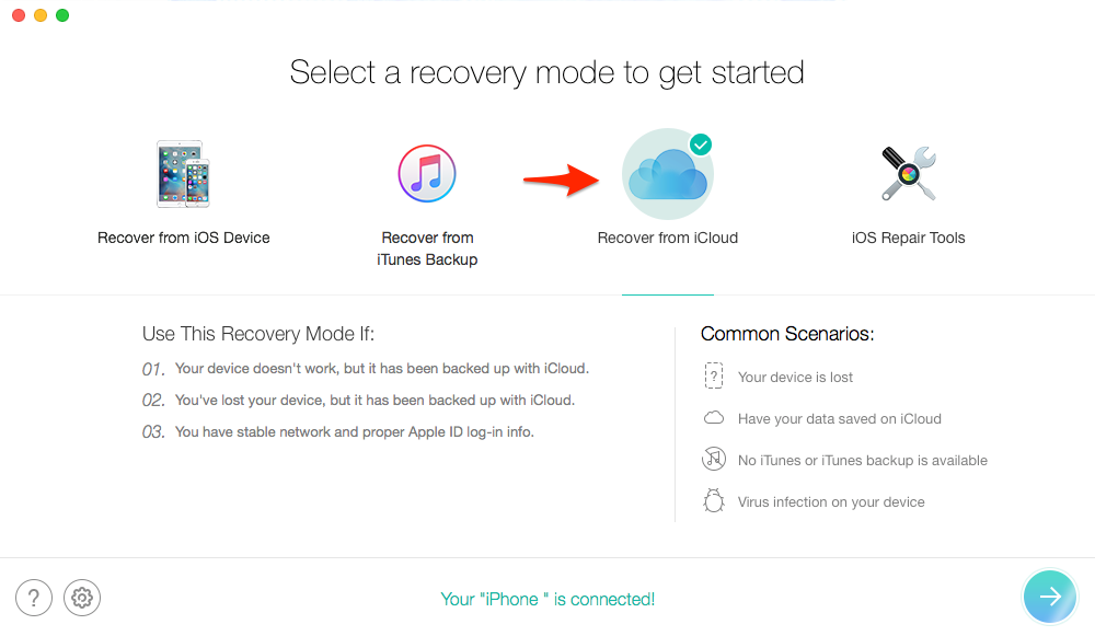 How to Recover Deleted Photos from iPhone 6/6s (Plus) with iCloud Backup – Step 2