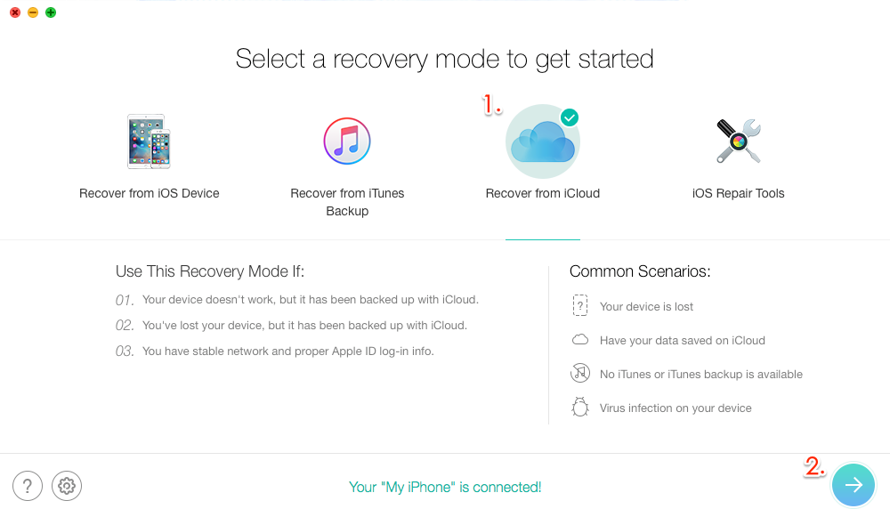 How to Recover Deleted iPhone Photos from iCloud Backup with PhoneRescue for iOS – Step 2