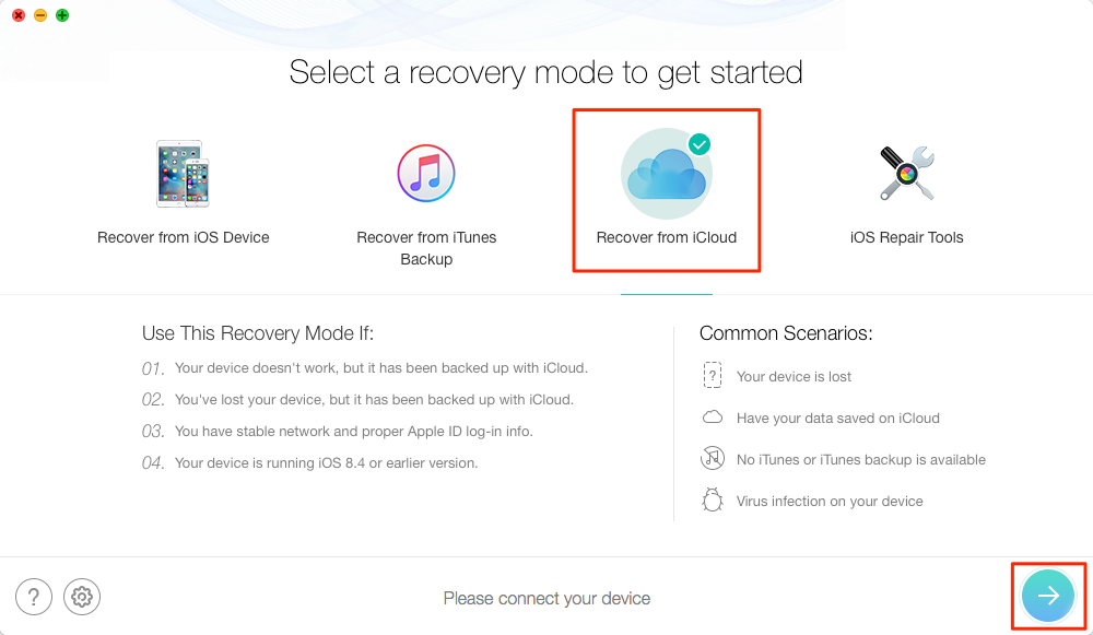 Recover Deleted Text Message Pictures on iPhone via iCloud Backup - Step 1