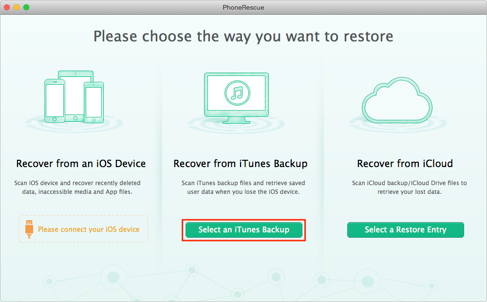 Extract Skype Messages from iTunes Backup with PhoneRescue – Step 1