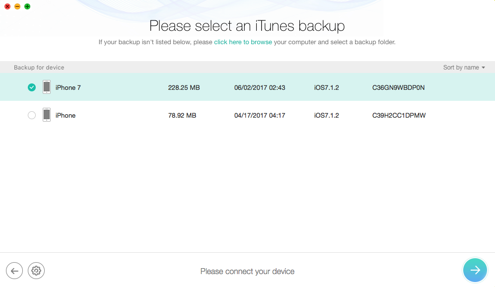 Recover Deleted iPhone Messages from iTunes Backup – Step 2