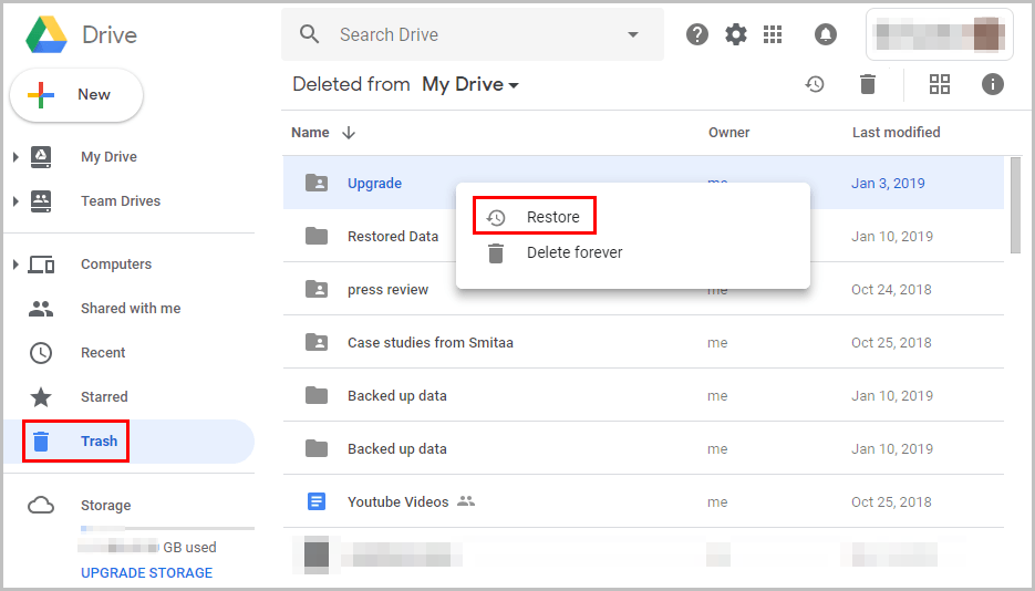 Recover Deleted Videos from Google Drive Trash