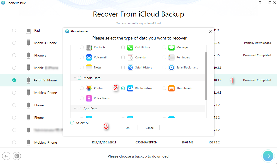How to Recover Deleted Videos from iPhone with iCloud Backups - Step 3