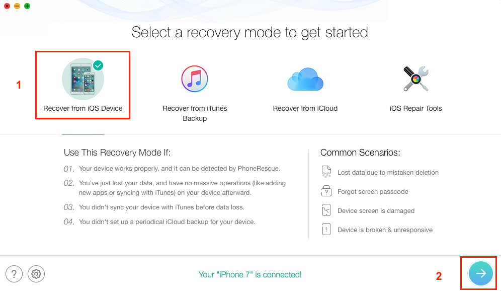 How to Recover Deleted Videos from iPhone 6\6s (Plus) with PhoneRescue - Step 2