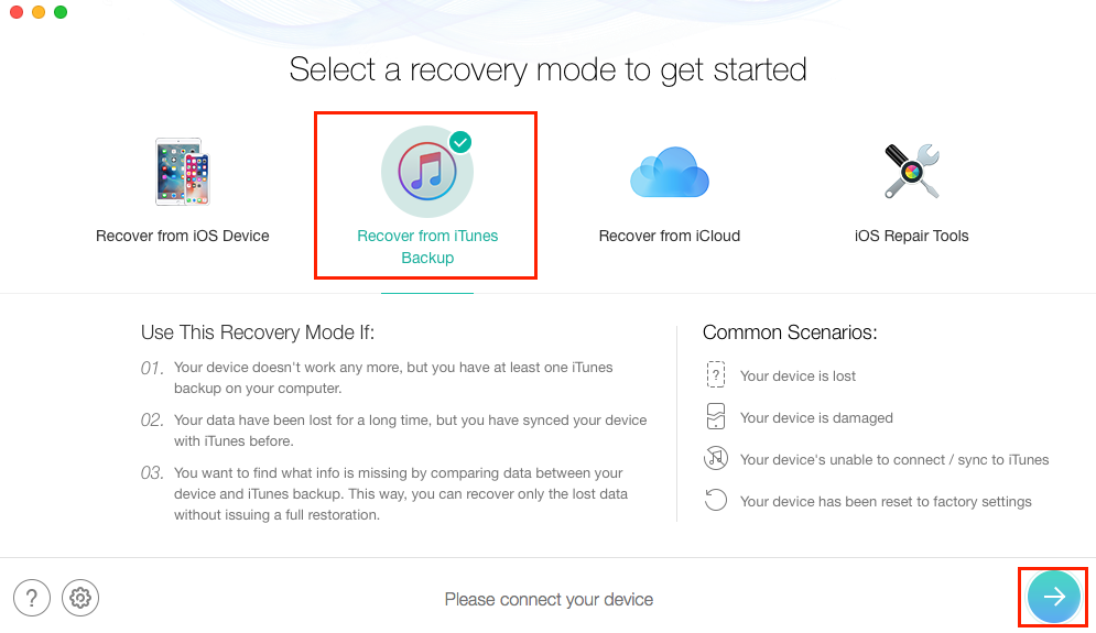 Recover Deleted Videos on iPhone 6/6s (Plus) from Backup - Step 1