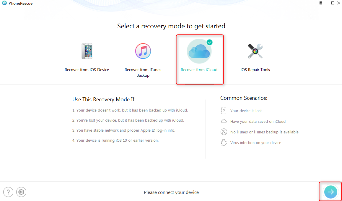 How to Recover Deleted Videos from iPhone with iCloud Backups - Step 1