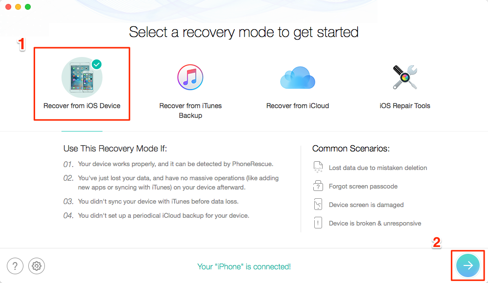 Recover Deleted Videos from iOS with PhoneRescue - Step 1
