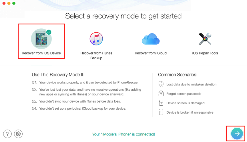 How to Recover Deleted Voice Memos from iPhone XS without Backup – Step 2