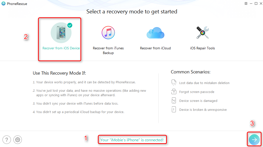 Retrieve Deleted Voice Memos on iPhone with PhoneRescue – Step 2