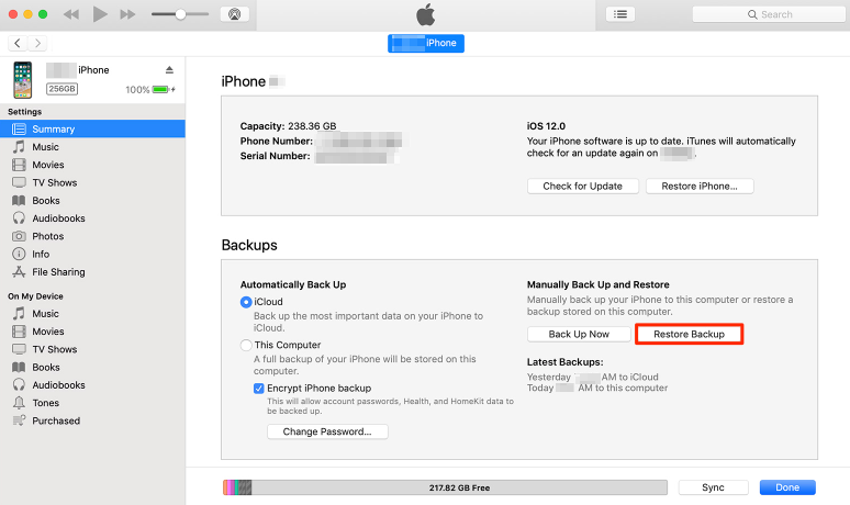 How to Recover Deleted Voice Memos on iPhone X/8 with iTunes