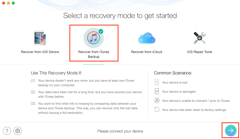 Recover WhatsApp Messages from iTunes Backup - Step 1