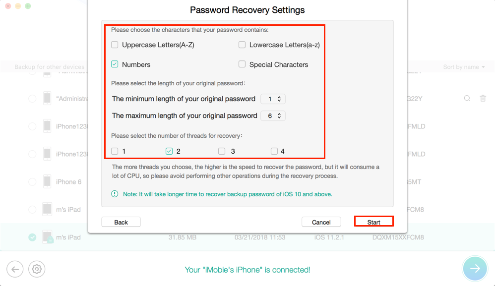 How to Recover Forgotten iTunes Backup Password for Free - Step 3