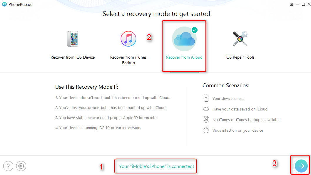 How to Recover iMessages from iCloud with PhoneRescue – Step 2