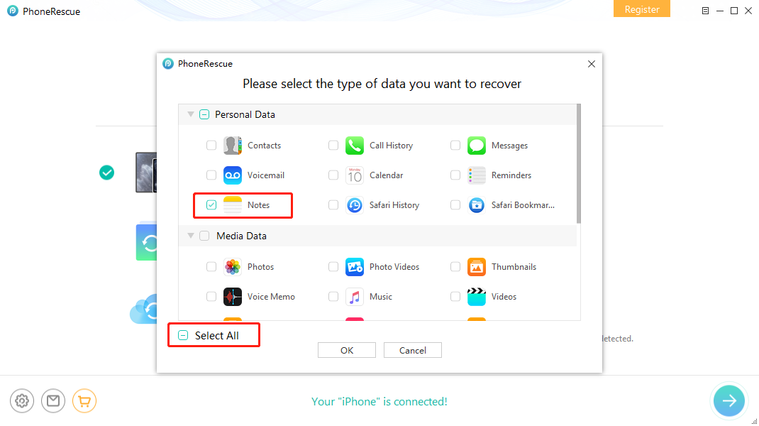 How to Recover Deleted Notes on iPhone 11/XS/XR/X/8/7/6s without Backup – Step 3