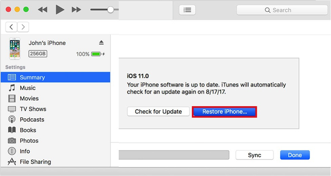 Restore iPhone Using the iTunes App