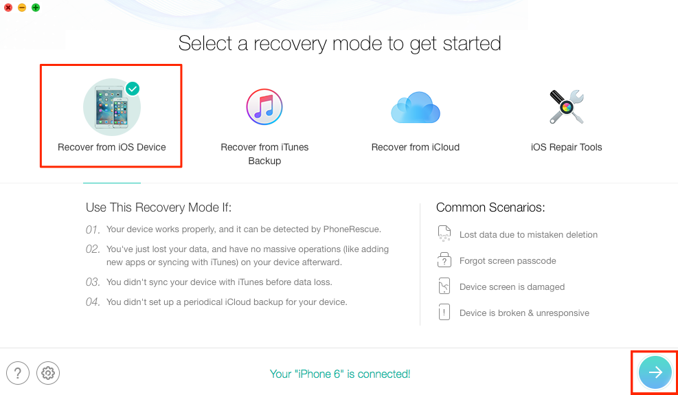 How to Recover Lost Notes on iPhone without Backup - Step 2