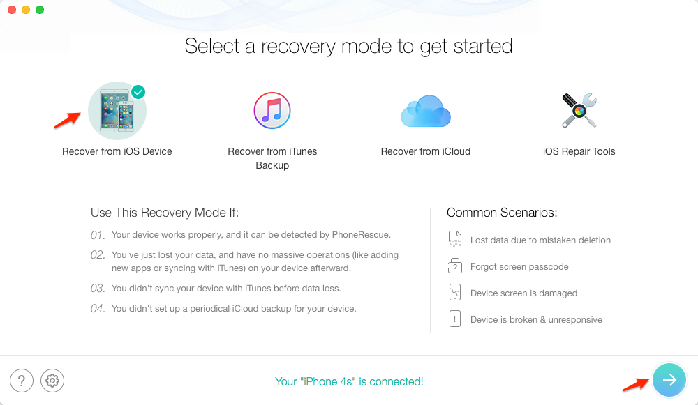 How to Recover Notes on iPhone 4/4s via PhoneRescue – Step 1