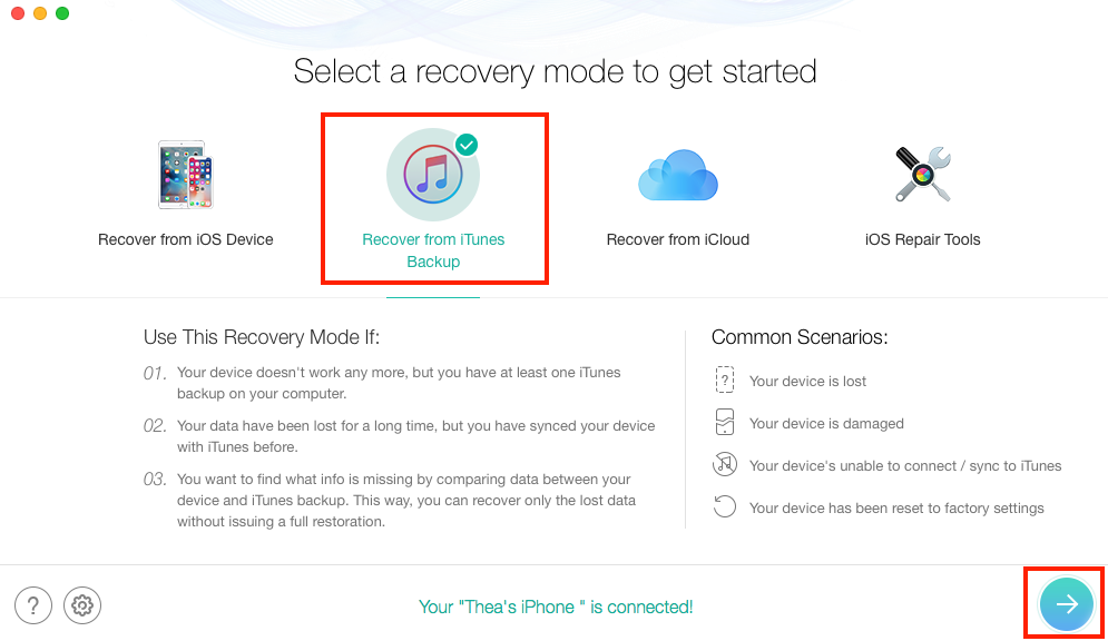 Recover Photos after Factory Reset iPhone with Backup - Step 1