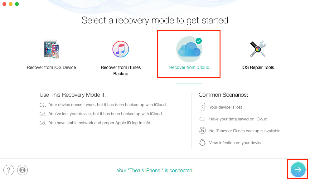 Recover Photos after Restore iPhone without Backup - Step 1