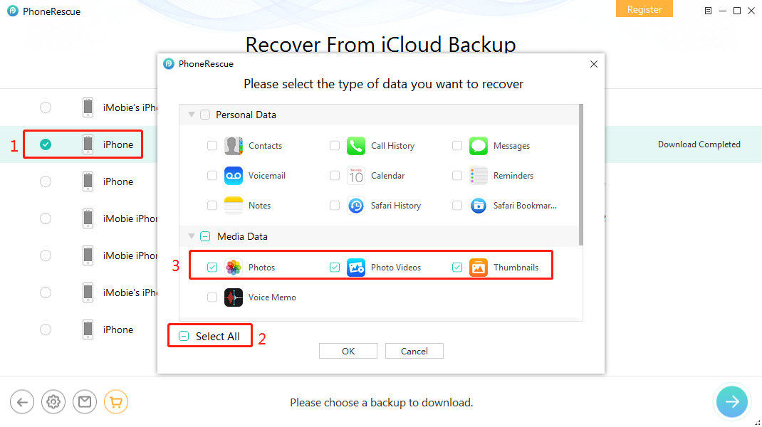 Recover Photos from Broken iPhone via iCloud - Step 3