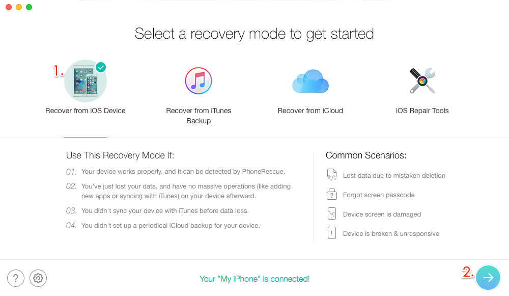 Recover Photos from iPhone that Won't Turn on - Step 1