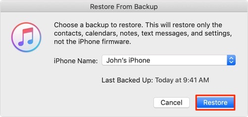 Restore iPhone with iTunes Backup to Recover Text Messages after Factory Reset