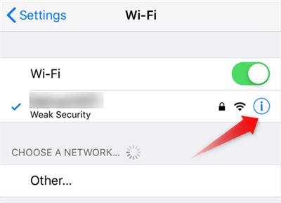 Access your WiFi Settings