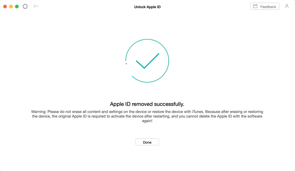 Apple ID Removed Successfully